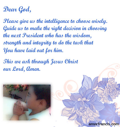 Prayer for the future President of the Philippines
