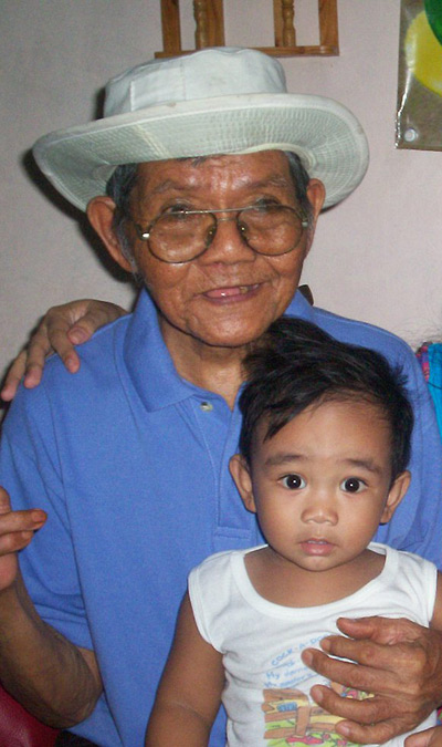 Sean with his great grandfather, my 91 year old lolo
