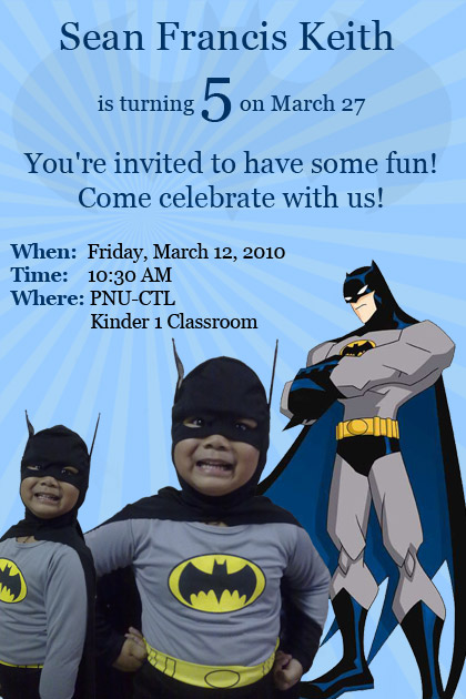 Sean's 5th birthday party invitation
