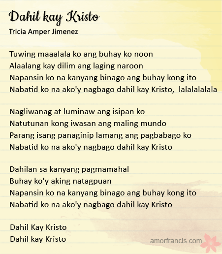 Dahil kay Kristo song by Tricia Amper Jimenez