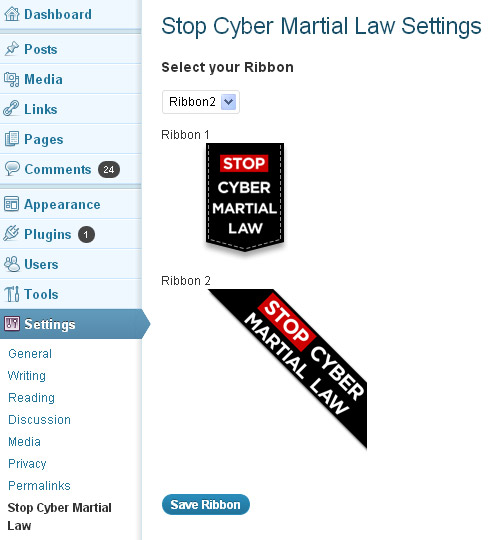 Stop Cyber Martial Law Ribbon Plugin for WordPress