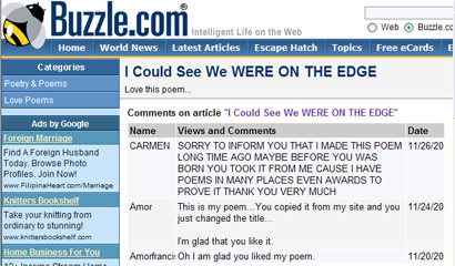 Plagiarized poem - comments