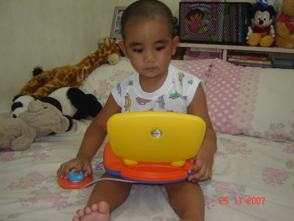 playing with vtech laptop