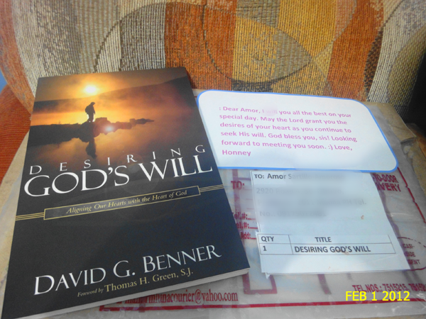 """desiring god's will"" book gift from Honney"