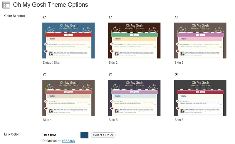Oh My Gosh Theme Options Color Schemes